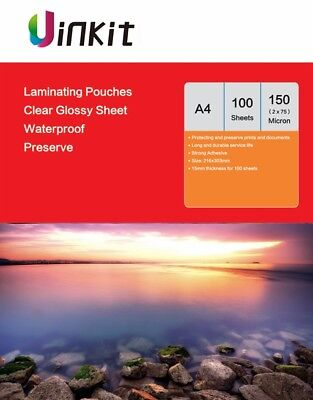A4 Laminating Pouches 216x303mm Clear  Film 150 Micron 75x2 - 100 Sheets Uinkit