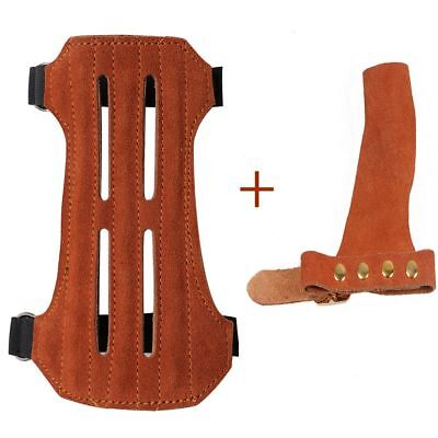 Archery Leather Arm Guard + Left Hand Guard Protective Gear Set Shooting Hunting