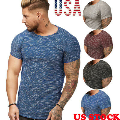 Men Basic Muscle Short Sleeve T- Shirt Summer Tee Fashion Casual O Neck US STOCK