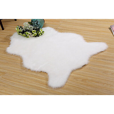 Pure White Fluffy Rug Warm Cosy Luxurious Long Hair Bedsides Carpet Mat 100x150