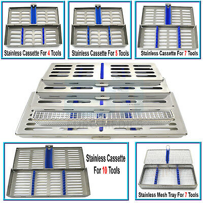 Surgical Stainless Steel Cassette Tray For 4,5,7,10 Instruments Dental Lab Tools