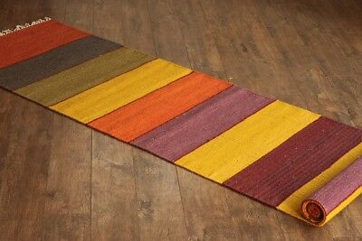 Taluche Handmade 10' Long Multi-Coloured Striped Reclaimed Wool Yarn Runner Rug