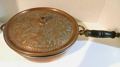 CHAFFING POT TEHRAN Authentic-Copper-Iran-Nadar-Factory-Vintage/missing sterno