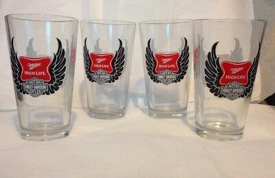 Harley Davidson Motor / Miller High Life Beer Glasses Set Of 4