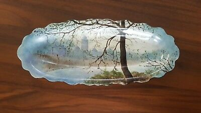 1926 Australian Hand Painted Artist Signed Misty Morning by the Yarra Porcelain