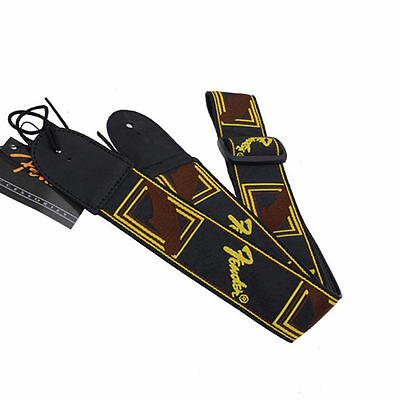 Fender leather head embroidered electric guitar strap