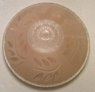 """Glass Lamp Shade Ceiling Light Lite 12"""" Beige Clear Frosted Antique Art Deco"""