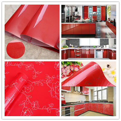 Vinyl Red Glitter Wallpaper Self Adhesive Contact Paper Kitchen Cabinet Decor