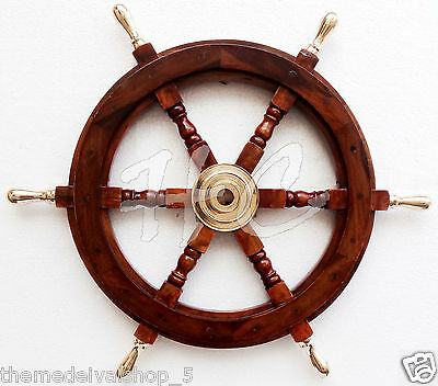 Maritime Boat Ships Captains Nautical Beach Ship Wheel Brass Wooden Steering