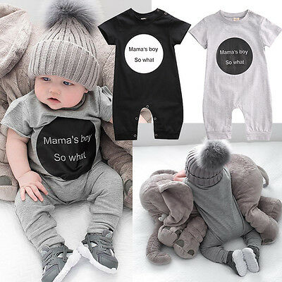 Newborn Baby Mamas Boy Cotton Romper Jumpsuit Outfits Short Sleeve Clothes 6-18M