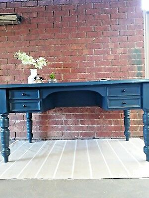 Blue painted Shabby Chic Desk French Provincial timber Hall Table