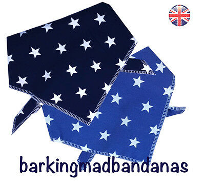 Dog Bandana, Blue Stars, Handmade Dog Bandanas, Dog Gift, Neck Scarf UK, dogs