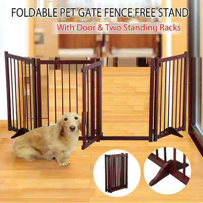 4-Panel Wooden Folding Free Standing Pet Gate Dog Fence Safety Barrier 30''