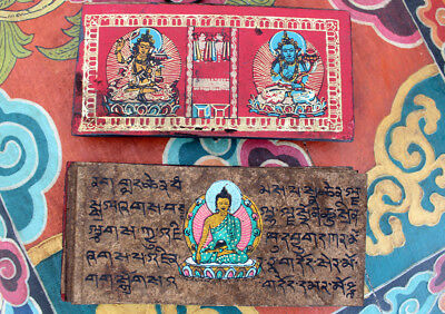 Tibetan Buddhist Ritual Handcrafted Wooden Mantra Book Cover