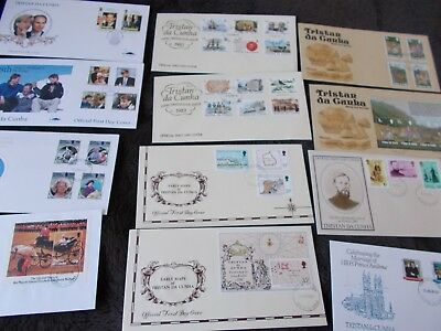 Tristan Da Cunha first day covers job lot of 12 covers date from 1981 to 1999