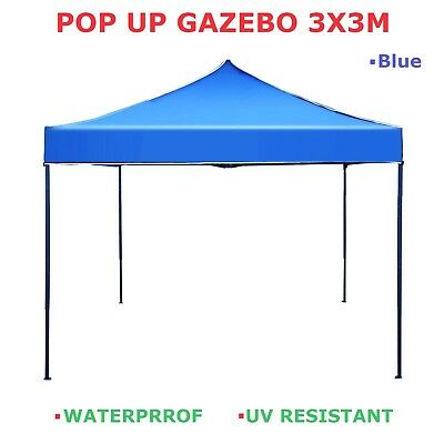 3x3m Gazebo Outdoor Pop Up Tent Folding Marquee Party Camping Shade Canopy-BLUE