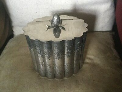 Antique Silver Plated Biscuit Box/Tea Caddy Of Lobed Panelled Form Acorn Finial