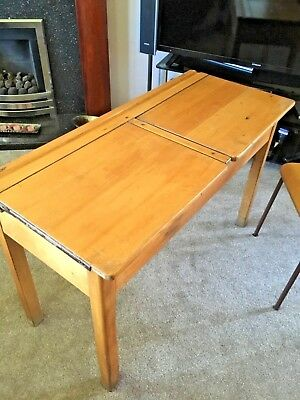 Vintage Wooden Primary School Desk retro double antique study & matching Chair