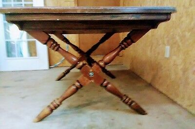 Antique Colony Pine x-tressle dining table & three Bent Bros. sling back chairs.