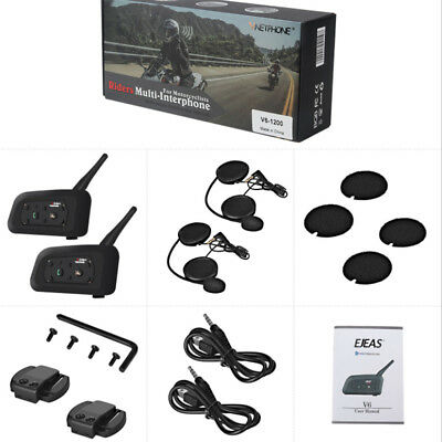 2set V6-1200 BT Bluetooth Motorcycle Helmet Intercom Interphone Headset 6 Rider