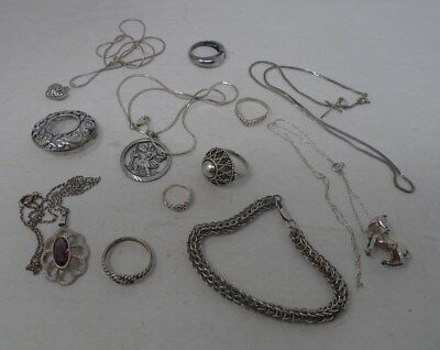 #6 Vintage 925 Sterling Silver Mixed Lot Rings Chains Pendants Brooch Bracelet *