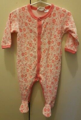 Marquise Baby Girl Size 00 Pink Flower Velour Suit with Feet - New with Tags