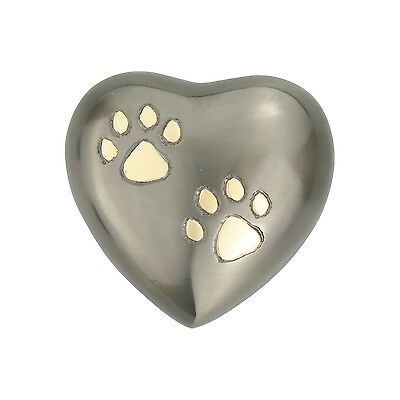 Slate Grey Heart with Golden Paw Prints Urn Keepsake for Dog Cat Ashes Cremation