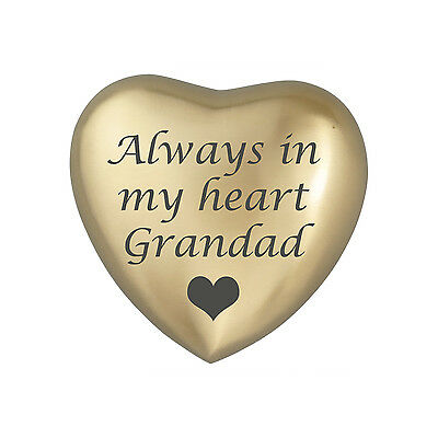 Always In My Heart Grandad Golden Colour Heart Urn Keepsake for Ashes Cremation