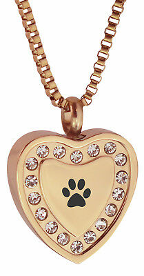 Crystal Paw Rose Gold Heart Urn Pendant-Memory Ash Cremation Jewellery Engraving