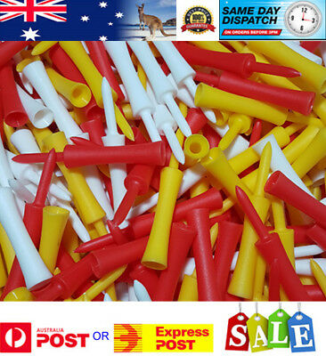 50 Multi Colour PLASTIC STEP GOLF TEES LARGE (76 mm) - AU seller - Fast Delivery