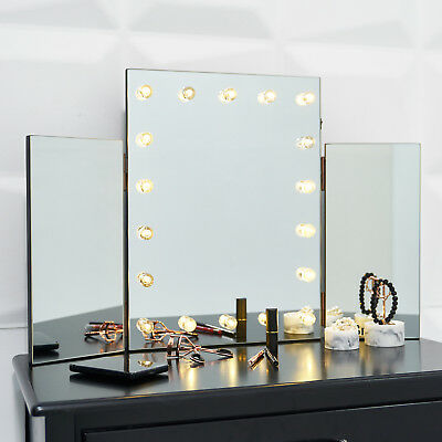 Glass Glamour LED Light Dressing Table Vanity Make Up Tri Mirror Bathroom Wall