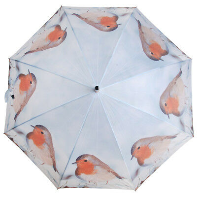 Large Robin Illustrated Umbrella Gift For Bird Lover Charity Free P&p