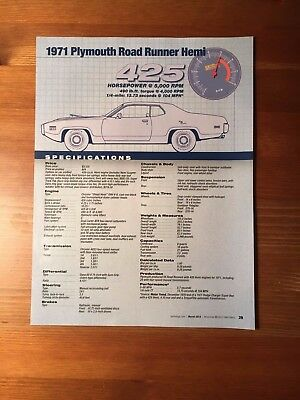 1971 Plymouth Road Runner Hemi Specification Sheet Magazine Ad