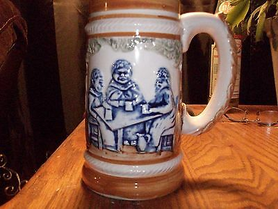 Vintage Occupied Japan Beer Mug Stein Scenic Monk Table Trees Pyramid Tents