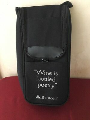 Wine Is Bottled Poetry Regions Bank Bottle Holder Double Bag Padded Zipper DF
