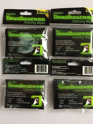FOUR (4) Two-Packs 80 Total Wipes KIMTECH Touchscreen Cleaning Wipes FREE SHIPPG