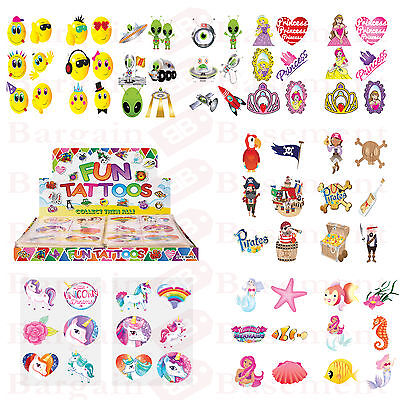 36 Kids Tattoos Party Bag Fillers Loot Favor Girls Boys Birthday Fun Toy Remove