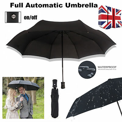 Black Strong Windproof Umbrella Automatic Open/Close Folding Double Canopy NEW