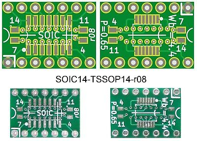 5 pcs SOIC-14/TSSOP-14 SMD To DIP Adapter/Breakout (with -||- decoupling pads)
