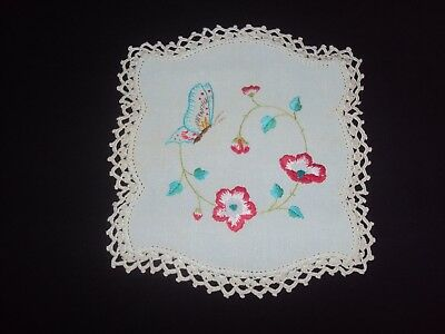 Vintage Hand Embroidered & Crochet Small Doily - Butterfly - 21.5Cm X 20Cm