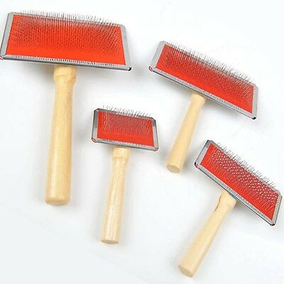 Wooden Handle Shedding Pet Dog Cat Hair Brush Fur Grooming Trimmer Comb Tool New