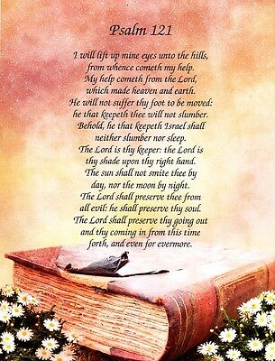 """""""Psalm 121"""" Song of Ascents Inspirational Religious Poster Print"""