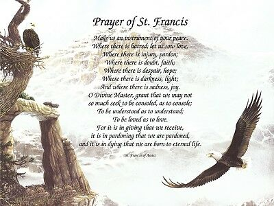 """""""Prayer of St. Francis Assisi"""" Inspirational Religious Poem Print"""