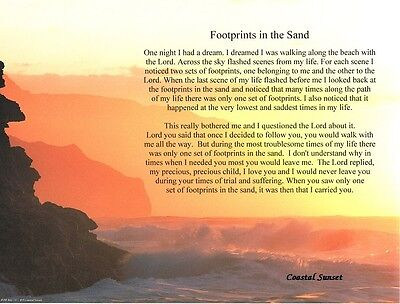 """""""Footprints in the Sand"""" Inspirational Poem Gift"""