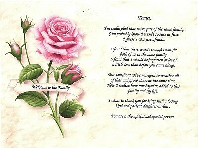 """Personalized """"Welcome to the Family"""" Poem Floral Wedding Birthday Bridal Shower"""