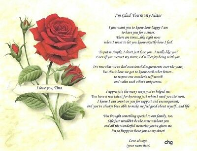 """""""I'm Glad You're My Sister"""" Personalized Appreciation Poem Print Gift"""