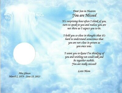 """""""You Are Missed"""" Loss of a Loved One Personalized Poem With Option Photo Cut-Out"""