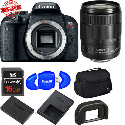 Canon EOS Rebel T7i DSLR Camera w/18-135mm f/3.5-5.6 IS USM Lens + Add Accs