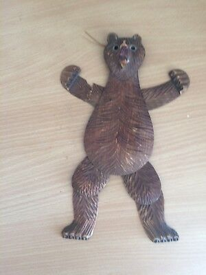 A Rare ANTIQUE BLACK FOREST BEAR CARVING CARVED WOOD PUPPET WALL ART SCULPTURE