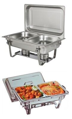 8.5L Double Pan Chafing Dish Set Food Warmer Buffet  Twin Food Pans Fuel Gel